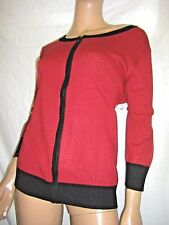 NWT PLUS SIZE 1X GRAMERCY RED & BLACK ZIPPER FRONT CARDIGAN SWEATER JACKET