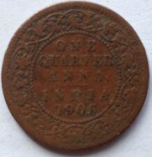 India One Quarter Anna 1906 coin
