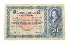 1942 Swiss Twenty Franc Note Banque Nationale Suisse Fine 20Fr Switzerland P#39L
