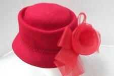 Red hat organza net bow braid trim 100% wool cloche dress fascinator M L NEW