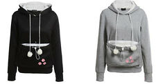 Fashion Causal Hoodies Pouch Pet Cat Hooded Pullover With Ears Sweatshirt Tops