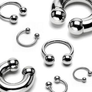 1pc Surgical Steel Circular Horseshoe Barbell with Ball Lip Septum 18G thru 00g