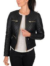 New Women's Black Quilted Slim Fit Biker Style Moto Lambskin Leather Jacket