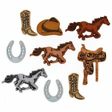 Jesse James Buttons - Dress It Up - HORSES- COWBOY BOOTS - SADDLE UP 4245 Sewing