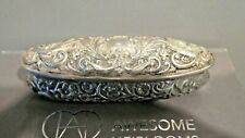 Antique Silver Repousse Oval Dressing Table  Box.