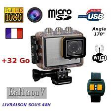 Camera sport WiFi Full HD 1080P étanche +32Go boitier waterproof argent