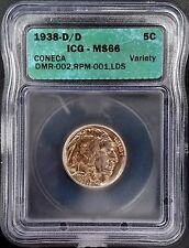 1938 D/D Buffalo Nickel certified MS 66 by ICG! Nicely toned!