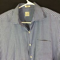 PETER MILLAR Men?s Dark & Light Blue Checked L/S Button Down Shirt Size L Large