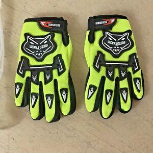 Leopard Kids Motocross Gloves Lime Green / Black White