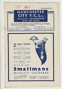 Manchester City V Blackpool Rare Division One Programme 1949/50