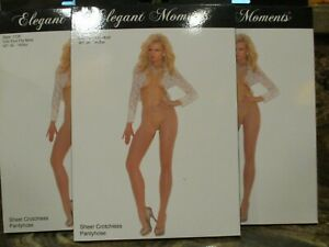 3PAIR LOT ELEGANT MOMENTS SHEER  OPEN GUSSET PANTYHOSE ONE SIZE BEIGE