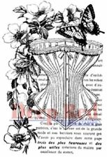 Deep Red Rubber Cling Stamp Corset Collage Victorian Floral Butterfly
