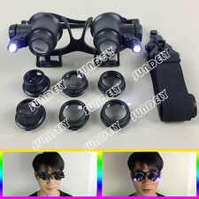 10X/15X/20X/25X LED Jeweler Watch Repair Magnifier Double Eye Glasses Loupe Lens