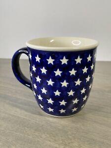 Boleslawiec Coffee Mug Blue with White Stars hand made in Poland