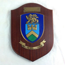 More details for vintage menwith hill harrogate wooden shield plaque heraldic made in england