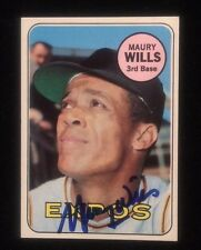 MAURY WILLS 1969 TOPPS Autographed Signed AUTO Baseball Card 45 DODGERS PIRATES