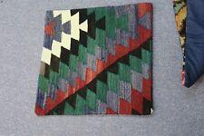 "Turkish Anatolian Kilim Pillow Cushion Hand Woven Wool 18"" x 18"" .  Zipper Back"