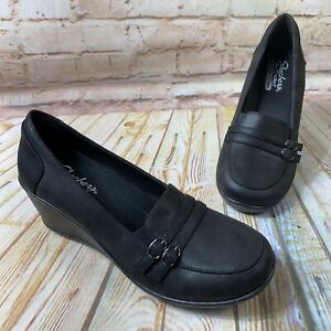 NEW Skechers RUMBLERS FRILLY Size 11 Black Loafer Wedge Heel Comfort Shoes