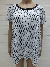 TRENERY LINEN TOP TUNIC PRINT TEE T SHIRT BLOUSE M