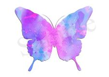 Pink Purple Butterfly Iron On Transfer A5 Size