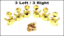 Set of 6 Classy GOLD Covered-Gear Guitar Tuners/Machine Heads (3 Left/3 Right)