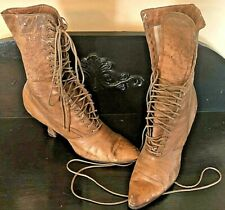 Ladies Antique Boots - Leather, Edwardian, Victorian Lace Up, Granny Shoes,Brown