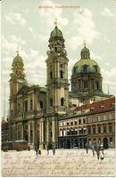 AK München, Odeonsplatz, Theatinerkirche, Touristenbus, gel. am 9.9.1908