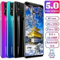 X27/X27 Plus Unlocked Smart Phone 5.0/5.7'' Android 8.0 2019 HD Dual Mobile L7K2