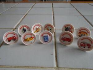 Série complète de 10 fèves  assiette relief pompier !