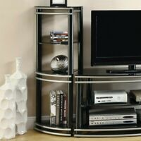 Coaster 3 Shelf Audio Rack in Black and Silver