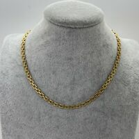 VINTAGE Brick Chain Necklace Gold Tone Collar Length Retro 70s Disco 80s Link
