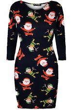 Women Ladies Xmas Christmas Belted Santa Claus Costume Fitted Bodycon Mini Dress