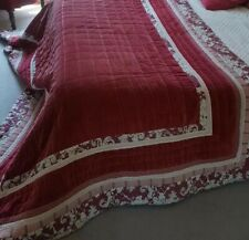 Stunning Vintage  French Velvet  Bedspread  Cover Throw Burgundy Quilted Double