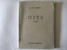 DITS 1960 DE CARBON FABLES DEDICACE POEMES POESIE