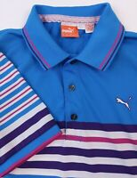 PUMA GOLF Men's Small Dry Cell Blue White Striped Short Sleeve Polo Shirt Poly
