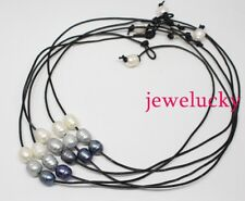 """Lot 5strand black leather Choker 3beads necklace 18"""" white gray black drop pearl"""