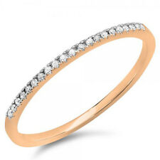 0.08 Carat 14k Rose Gold Diamond Anniversary Band Stackable Ring (Size 10)
