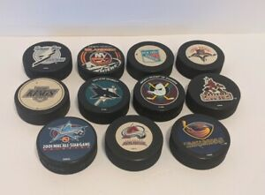 11 NHL Official Team Logo Ice Hockey Pucks - Multiple Teams and 2001 All Star
