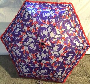 Parasol Ruffle Edge Stick Umbrella Red Purple Portable Collapsible, Red Hat