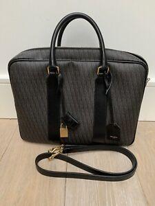 Saint Laurent YSL Brown Monogram Toile Large Men's Briefcase Laptop Bag