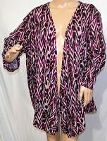 N Touch Women Plus Size 1x 2x 3x  Purple Animal Print Cardigan Jacket Sweater