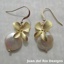grosse barocke Biwa Zucht-Perlen & Orchidee Ohrringe Ohrhänger 585 14K Gold GF
