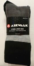 AIRWALK Men's Sports Crew Socks 3 Pair Grays/Black Polyester Sock Size 10-13