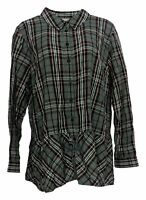 Joan Rivers Classics Collection Women's Top Sz XL Long Sleeve Plaid Gray A366262