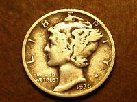 "1936-P Mercury Silver Dime VG Circ. Silver .900, Lot H-38701, ""FREE SHIPPING"""
