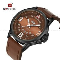 Fashion Wrist Watch Gifts Naviforce Men's Quartz Date Leather Army Analog Sport