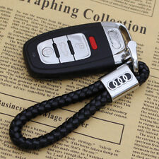 Audi 2020 Black Braided Leather Keyring Key Chain Key Ring Fob
