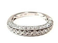 New Diamond .44 ct 14kt White Gold 3mm Band Ring * Gift Boxed * GAL Appraisal
