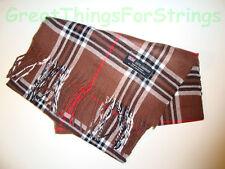 100% Cashmere Winter Scarf Scarve Scotland Warm Brown Red White Check Plaid NEW