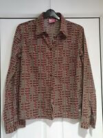Fab Roxy (Quiksilver) Brown Checked Blouse, Fitted, Long Sleeves, Size 12, VGC